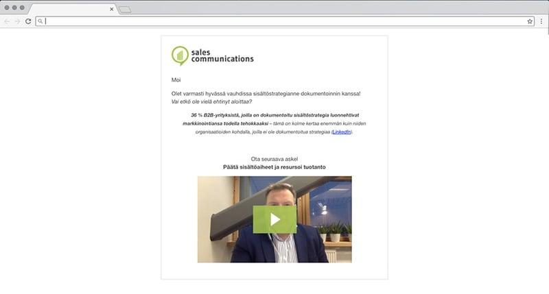 Esmerkki videoviestistä sähköpostissa