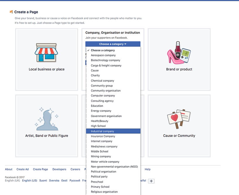 Facebook-sivun perustaminen - valitse oikea kategoria