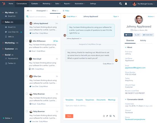 HubSpot conversations, keskustelun inbox