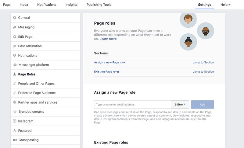 Facebook-sivun perustaminen - jaa sivun roolit