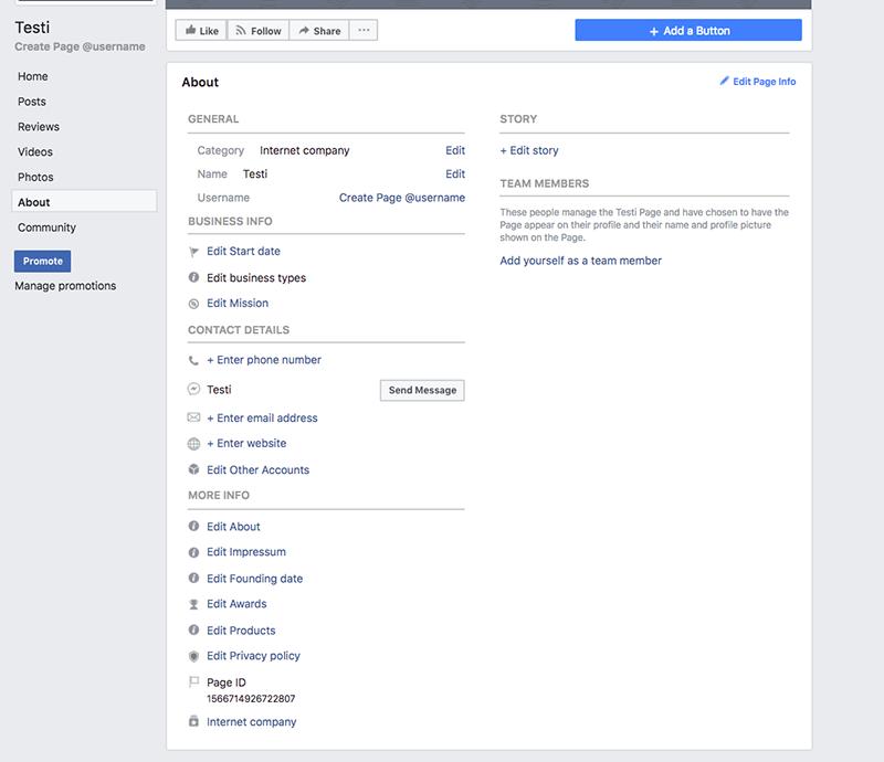 Facebook sivun perustaminen – täytä about-tiedot