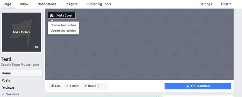 Facebook-sivun perustaminen – kansikuvan vaihtaminen