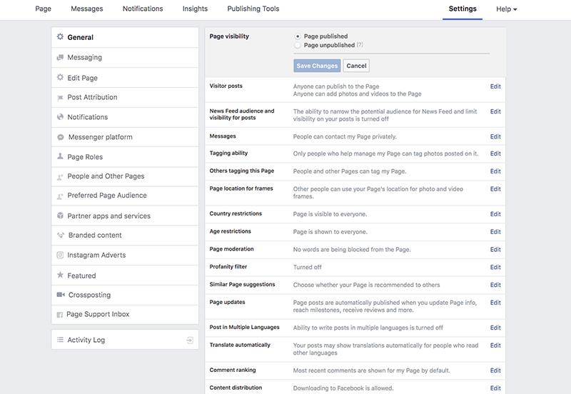 Facebook-sivun perustaminen – muuta näkyvyysasetuksia