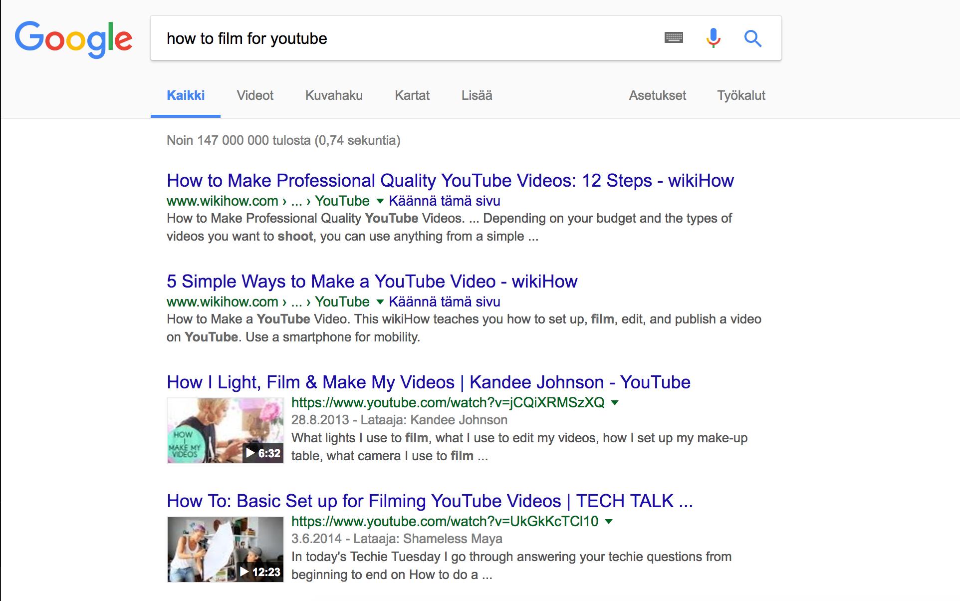 Tarkista näyttääkö Google videoita käyttämilläsi hakusanoilla.