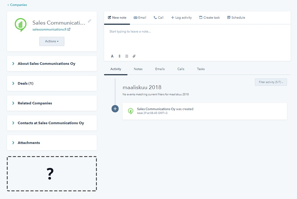 HubSpotin CRM Extensions API