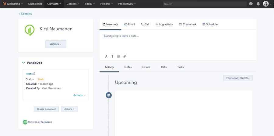 HubSpot CRM Extensions API: PandaDoc