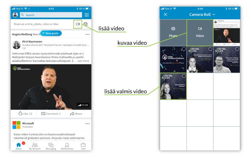 Kuinka lataan videon mobiiliapplikaatiossa