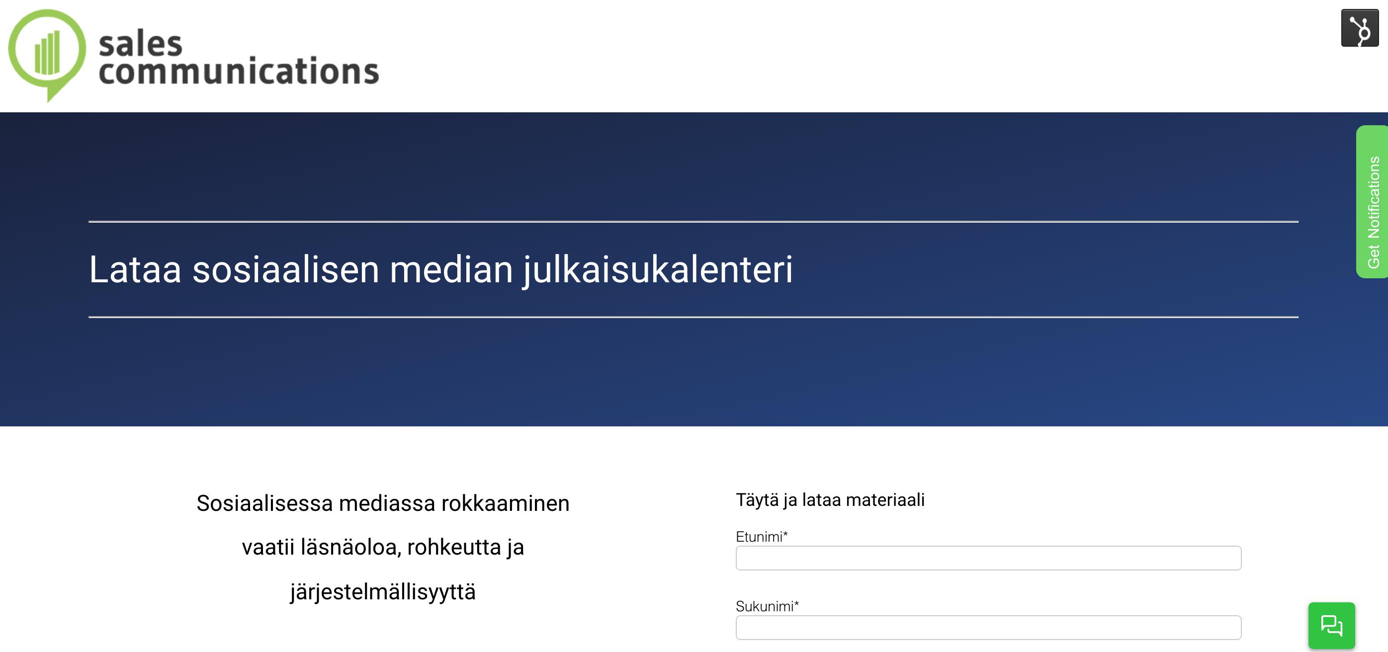 Landing page, Esimerkki inbound-markkinoinnista
