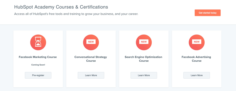 HubSpot Academyn kurssit ja sertifikaatit
