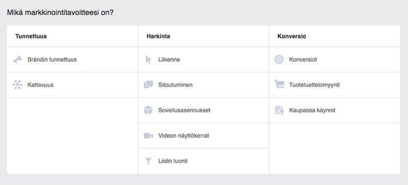 Facebook-mainosten tavoitevaihtoehdot