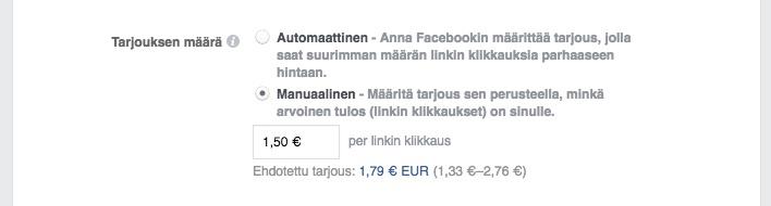 Tarjousehdotus Facebookissa