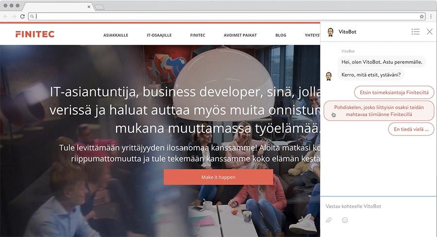 Chatbot, nimeltä VitoBot osana inbound-rekrytointikampanjaa
