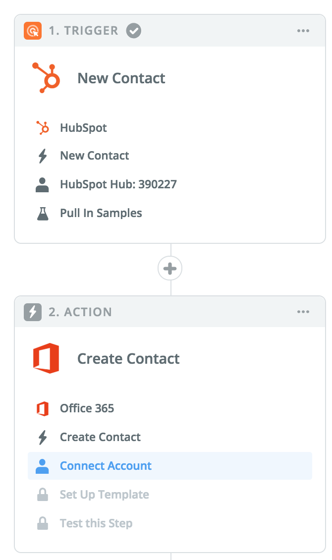 Zapier HubSpot office 365 create contact